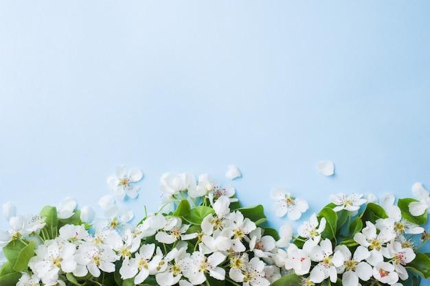 Ramo de floração de primavera em fundo azul Foto Premium