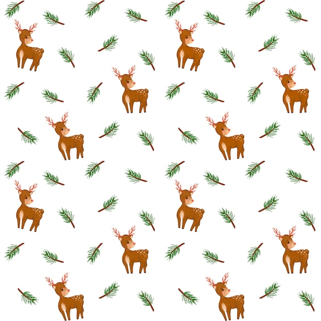 Ramos de abeto, papel digital de veado, padrão sem emenda de ramos de abeto, fundo de inverno, design minimalista, embrulho de natal Foto Premium