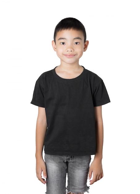 Rapaz asiático é sorriso no fundo branco Foto Premium