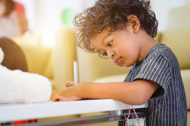 Rapaz asiático, usando uma caneta mágica para escrever no notebook e luz da tarde Foto Premium