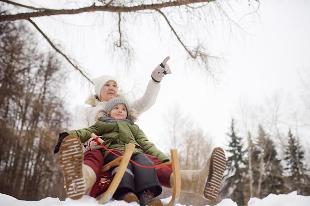 Rapaz pequeno e mãe / avó / babá que desliza no parque. Foto Premium