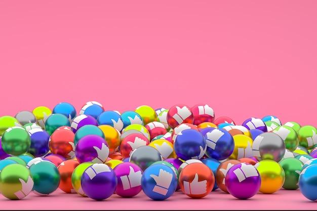 Reação do facebook emoji 3d, simbolizando balões de mídia social com um ícone de polegar para cima para várias cores Foto Premium