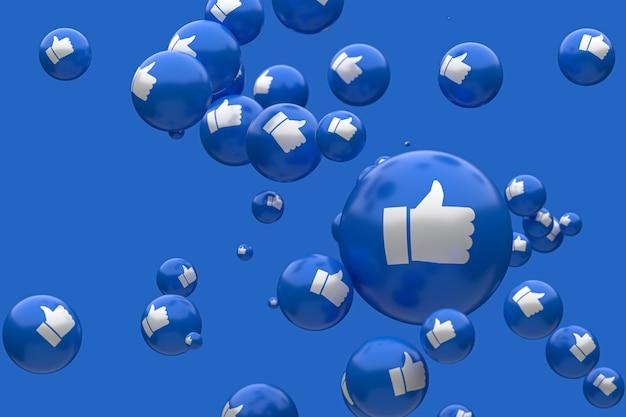 Reações do facebook emoji 3d render foto premium, símbolo de balão de mídia social com como polegares para cima padrão de ícones Foto Premium