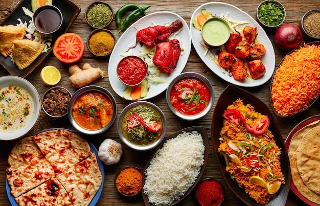 Receitas indianas variadas comida vários Foto Premium