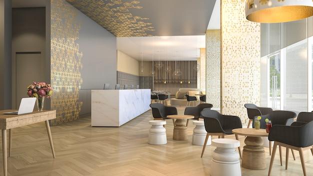 Recepção e sala de estar do hotel luxuoso da rendição 3d Foto Premium