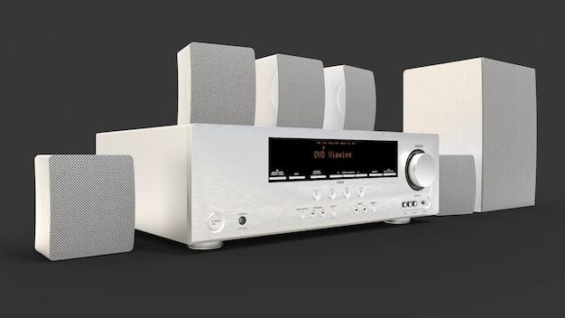 Receptor de dvd e sistema de home theater com alto-falantes e subwoofer de alumínio Foto Premium