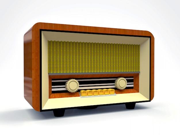 Receptor de rádio do tubo velho do vintage feito do plástico de madeira e de creme em um fundo branco. rádio antigo de meados do século xx Foto Premium