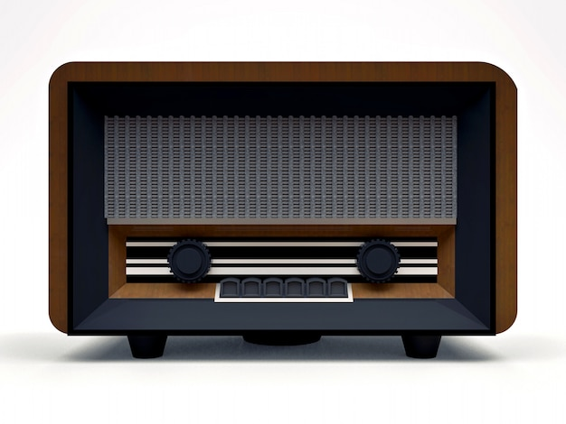Receptor de rádio do tubo velho do vintage feito do plástico de madeira e preto em um fundo branco. rádio antigo de meados do século xx. ilustração 3d Foto Premium
