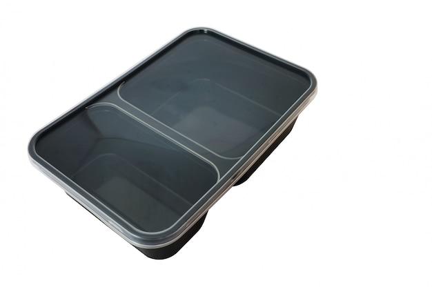 Recipiente de alimento de plástico preto sobre fundo branco Foto Premium