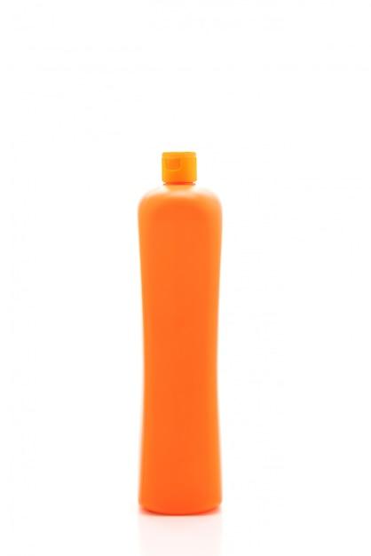 Recipiente de detergente plástico em fundo branco Foto Premium