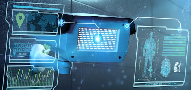 Reconhecimento e detecção de software no sistema de câmeras de segurança - renderização em 3d Foto Premium
