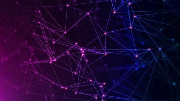 Rede com nós conectados fundo. conceito de tecnologia Foto Premium