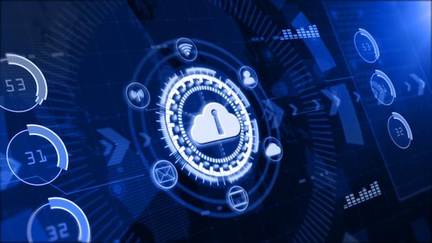 Rede de dados segura, computação em nuvem digital, conceito de segurança cibernética Foto Premium