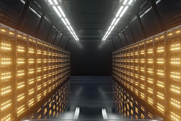 Rede escura da sala do servidor com luzes amarelas. Foto Premium