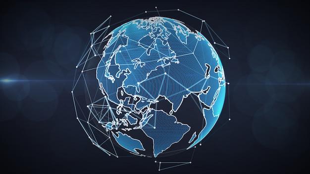 Rede global crescente e conceito das conexões de dados. Foto Premium