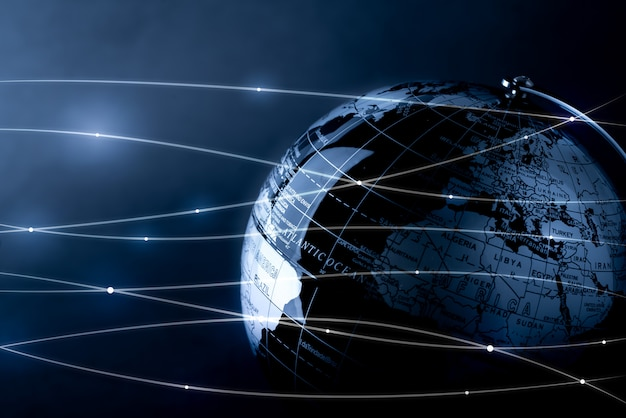 Rede global de tecnologia e conceito futuro Foto Premium