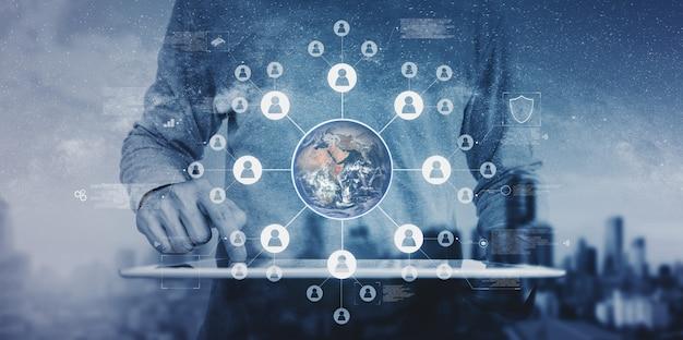 Rede global e tecnologia de rede global de negócios. o elemento desta imagem é fornecido pela nasa Foto Premium