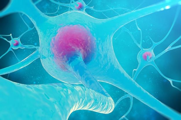 Rede neural, células cerebrais, sistema nervoso. Foto Premium