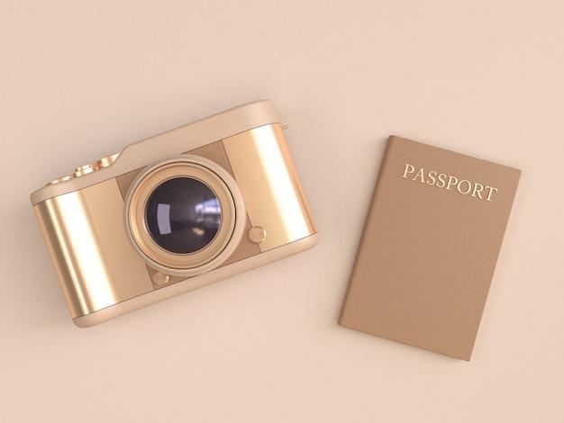 Reflexão brilhante da câmera ouro e passaporte marrom no estilo minimalista creme 3d render Foto Premium