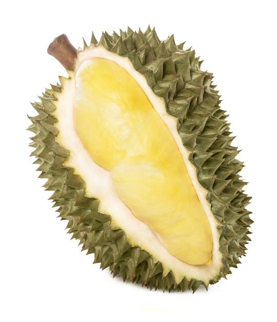 Rei das frutas, durian no fundo branco. Foto Premium