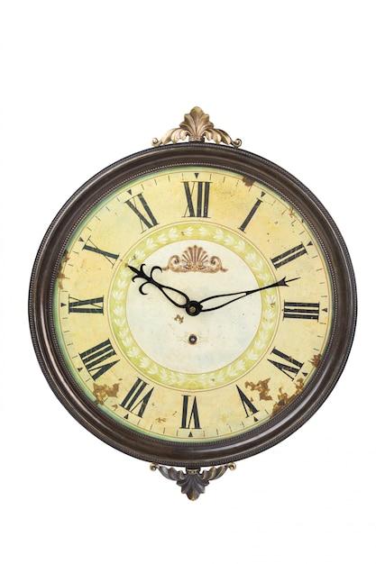 Relógio antigo isolado no branco Foto Premium