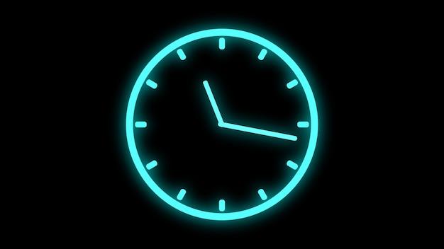 Relógio em movimento rápido animação de fiação brilhante brilhante de néon renderização em 3d Foto Premium