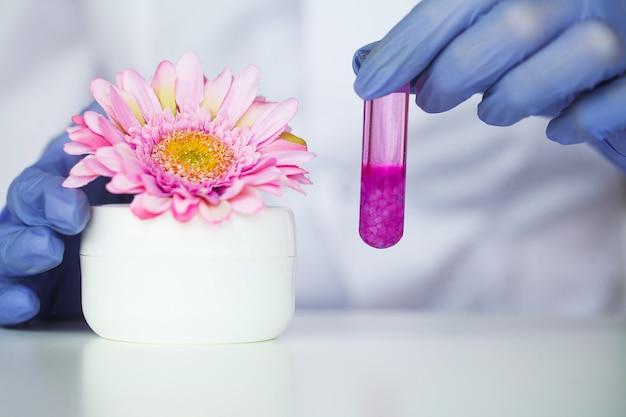 Remédio. medicina orgânica natural e assistência médica, medicina alternativa de plantas, extração de argamassa e ervas em material de vidro de laboratório Foto Premium