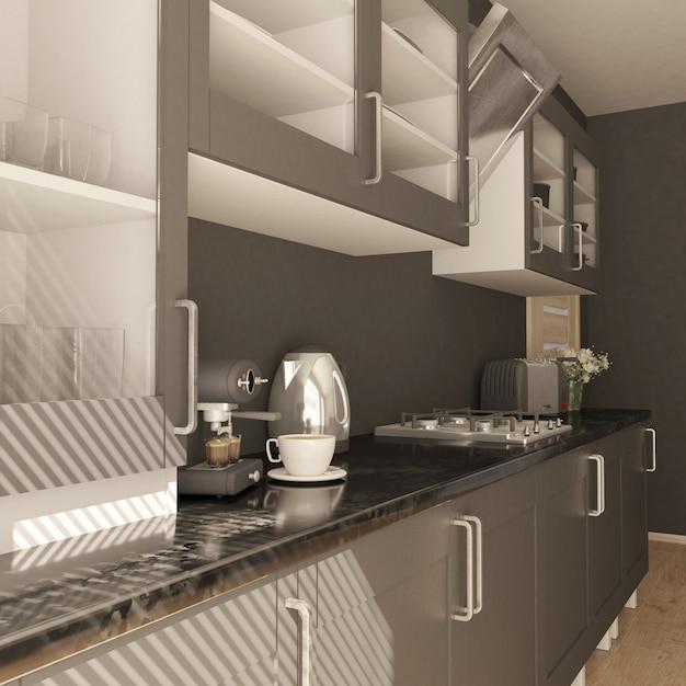Render da cozinha contemporânea 3d Foto gratuita