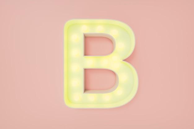 Renderização 3d. a letra maiúscula b com lâmpadas. Foto Premium
