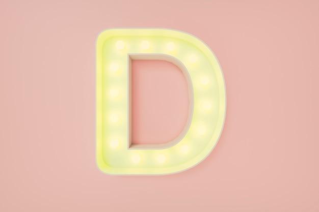 Renderização 3d. a letra maiúscula d com lâmpadas. Foto Premium