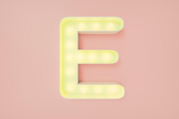 Renderização 3d. a letra maiúscula e com lâmpadas. Foto Premium
