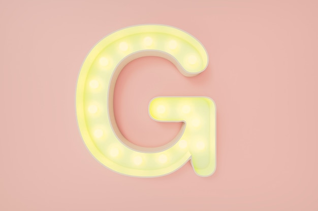 Renderização 3d. a letra maiúscula g com lâmpadas. Foto Premium