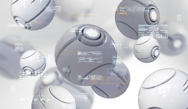 Renderização 3d abstrata de nanobots esféricas com elementos hud. composição futurista com elementos abstratos de tecnologia. Foto Premium