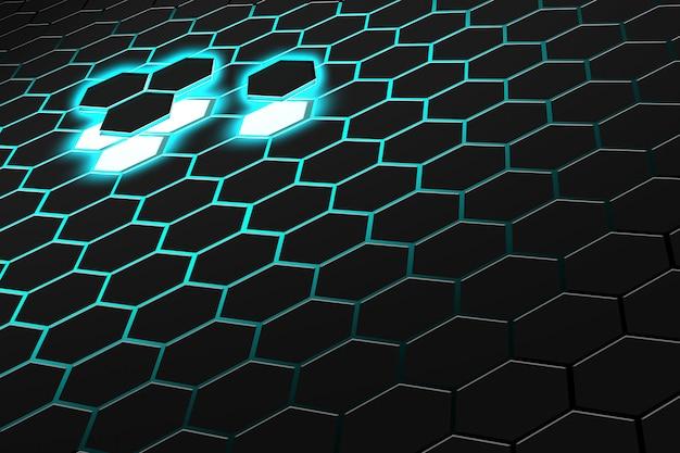 Renderização 3d abstrata de superfície futurista com hexágonos. fundo de ficção científica verde escuro. Foto Premium