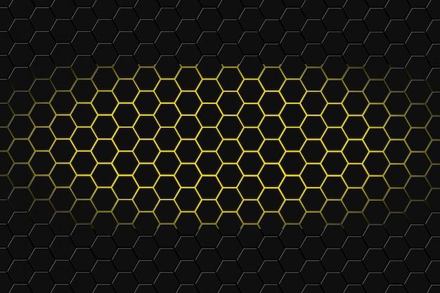 Renderização 3d abstrata de superfície futurista com hexágonos. fundo escuro de yellowsci-fi. Foto Premium
