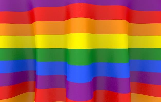 Renderização 3d. bandeira da cor do arco-íris de lgbt Foto Premium