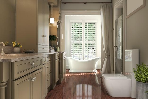 Renderização 3d banheiro clássico com piso de madeira e vista para o jardim da janela Foto Premium