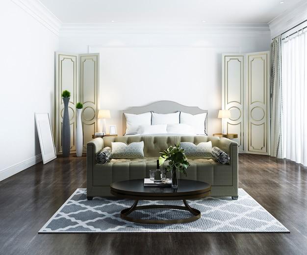 Renderização 3d bela suíte de luxo quarto clássico no hotel com tv Foto Premium