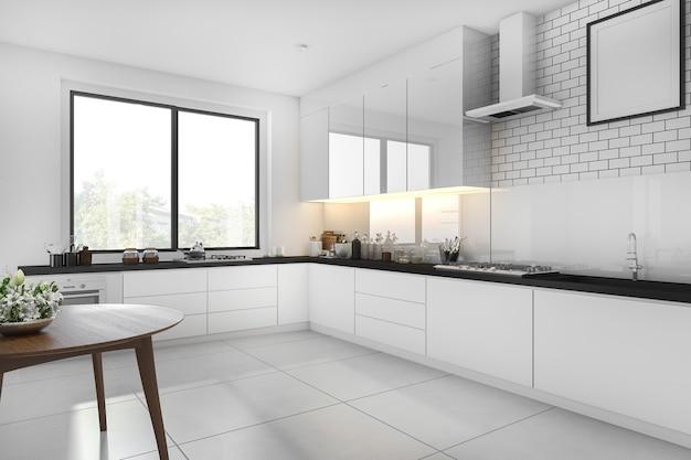 Renderização 3d branca minimalista cozinha com mesa de jantar Foto Premium