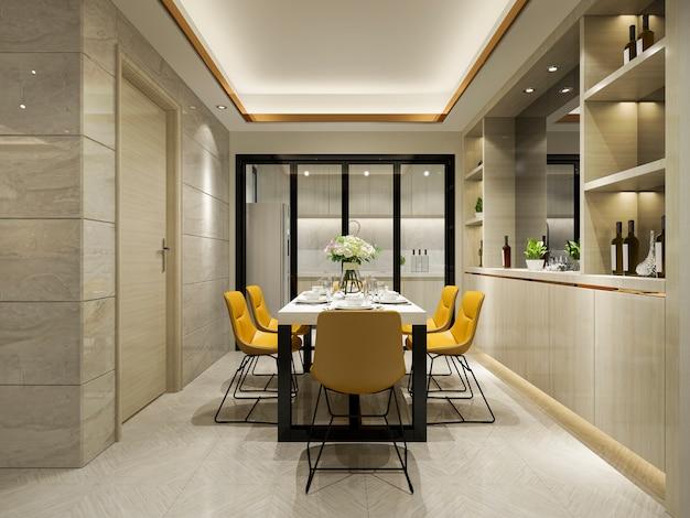 Renderização 3d cadeira amarela e cozinha de luxo com mesa de jantar Foto Premium