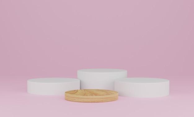 Renderização 3d. cena mínima abstrata com geométrica. pódio de madeira em fundo rosa. pedestal ou plataforma para display, apresentação de produto, mock up, show de produto cosmético Foto Premium