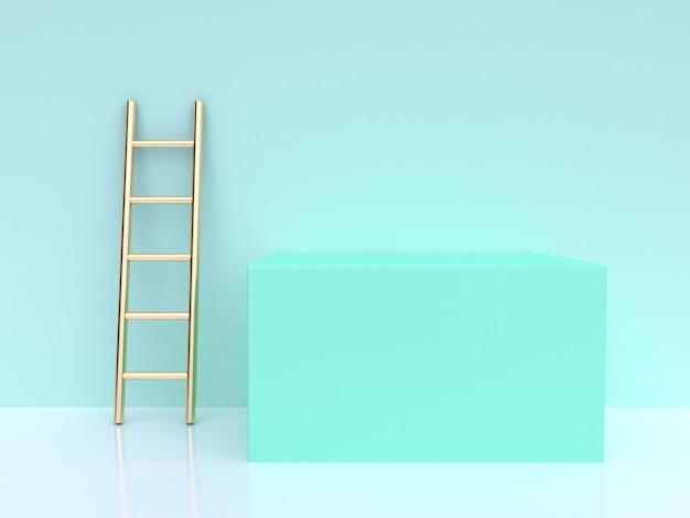 Renderização 3d, cena verde, escada ouro, quadrado, forma Foto Premium