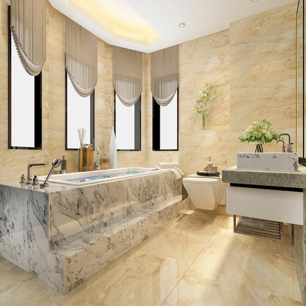 Renderização 3d clássico banheiro moderno com decoração de azulejos de luxo Foto Premium