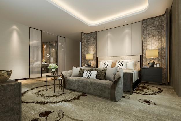 Renderização 3d, clássico, luxo moderno, quarto suite, e, banheiro Foto Premium