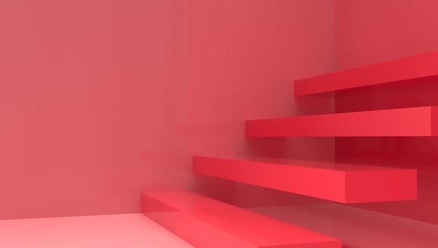 Renderização 3d com escada vermelha. Foto Premium