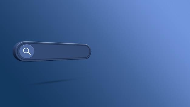 Renderização 3d da barra de pesquisa em branco Foto Premium