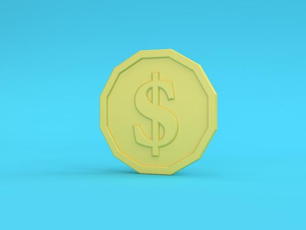 Renderização 3d da moeda amarela do dólar americano Foto Premium