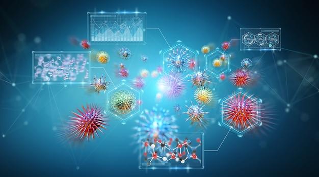 Renderização 3d de bactérias microscópicas close-up Foto Premium