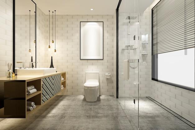 Renderização 3d de banheiro moderno de luxo Foto Premium