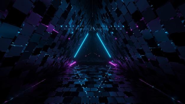 Renderização 3d de corredor triangular geométrico legal Foto gratuita